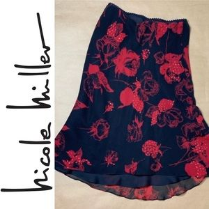 BOGO SALE Nicole Miller Rose Print Silk Skirt
